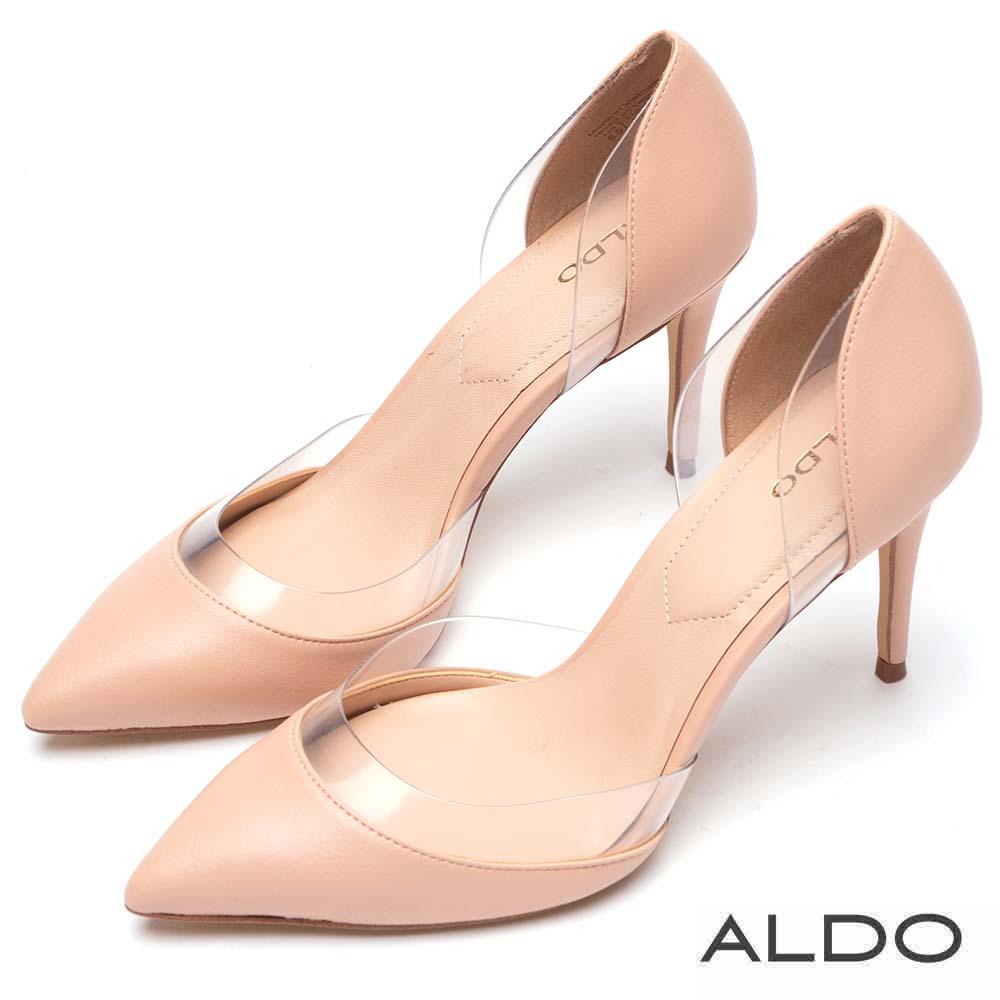 ALDO 原色佐流線透明擋片尖頭細高跟鞋~氣質裸色