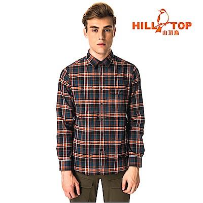 【hilltop山頂鳥】男款ThermoTech保暖長袖襯衫C05M24丈青橘格