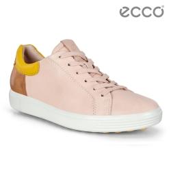 ECCO SOFT 7 W 經典輕巧撞色休閒鞋 女-粉