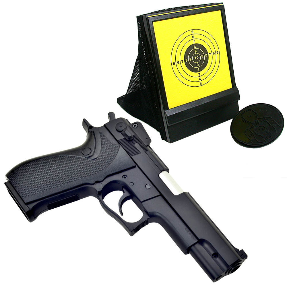 M4506造型6mm彈徑單發式手拉空氣BB槍+網狀帶集彈器槍靶