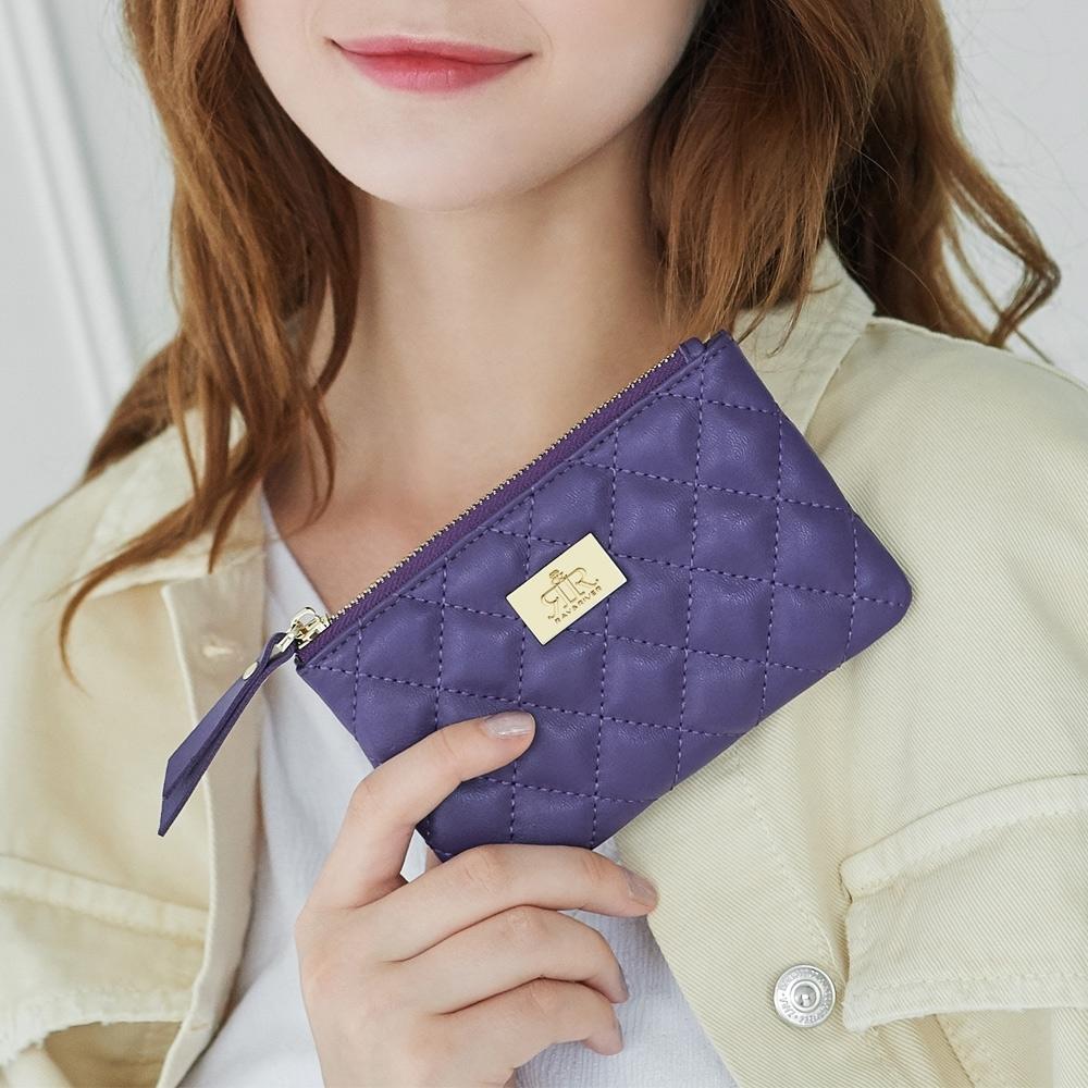 2R 棉柔羊皮 Soft 菱格雅緻零錢包 迷情紫
