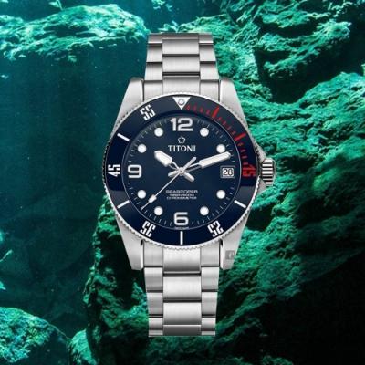 TITONI 梅花錶 SEASCOPER 600 米深潛系列機械錶(83600S-BE-255)-42mm