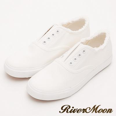 River&Moon韓系抽鬚無鞋帶懶人帆布鞋-白