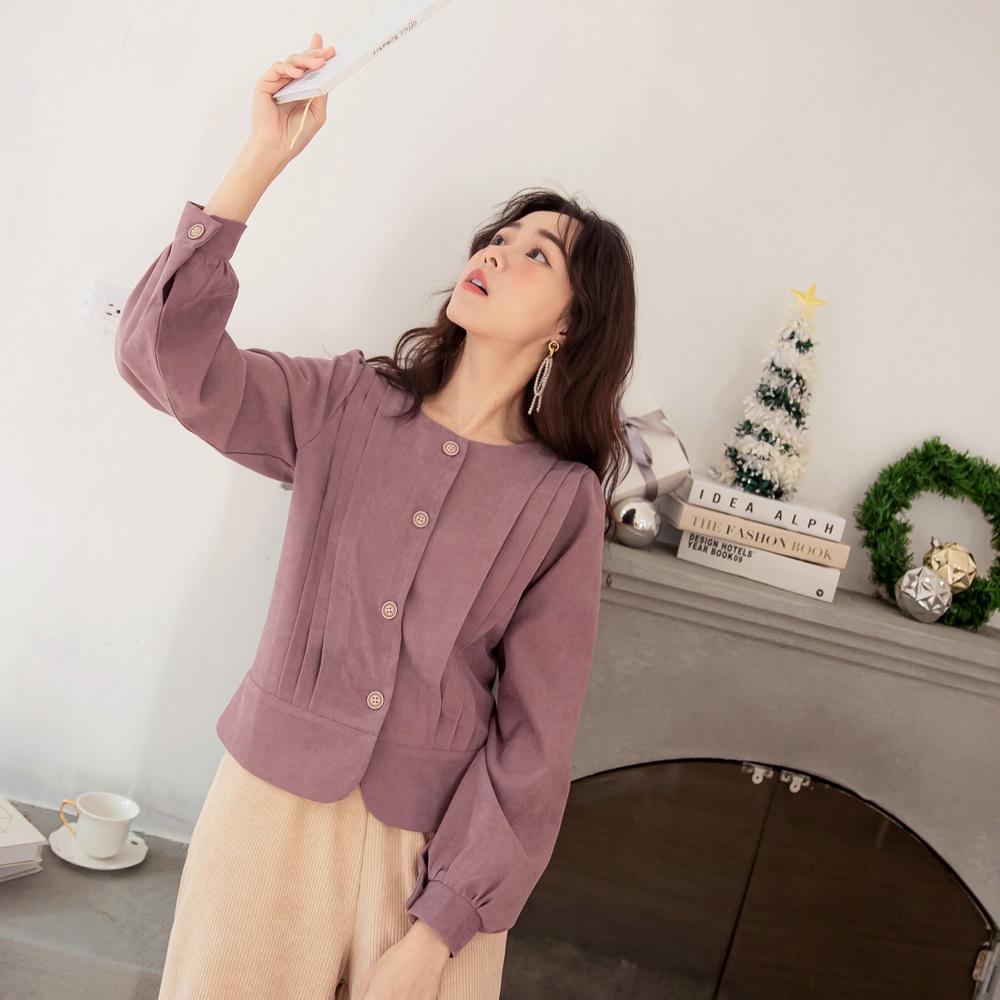 iMODA STAR-臧芮軒。仿麂皮打褶造型開襟排釦短版上衣外套 product image 1