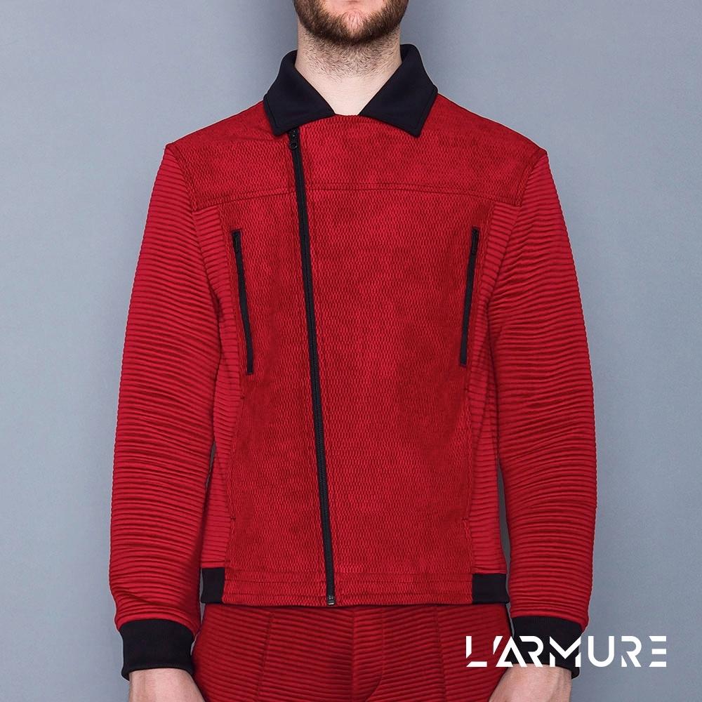 L'ARMURE 男裝 立體紋路 騎士夾克
