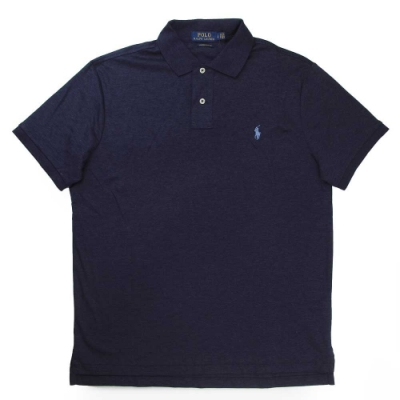 Polo Ralph Lauren 小馬Logo深藍色短袖Polo衫(Custom Slim Fit)