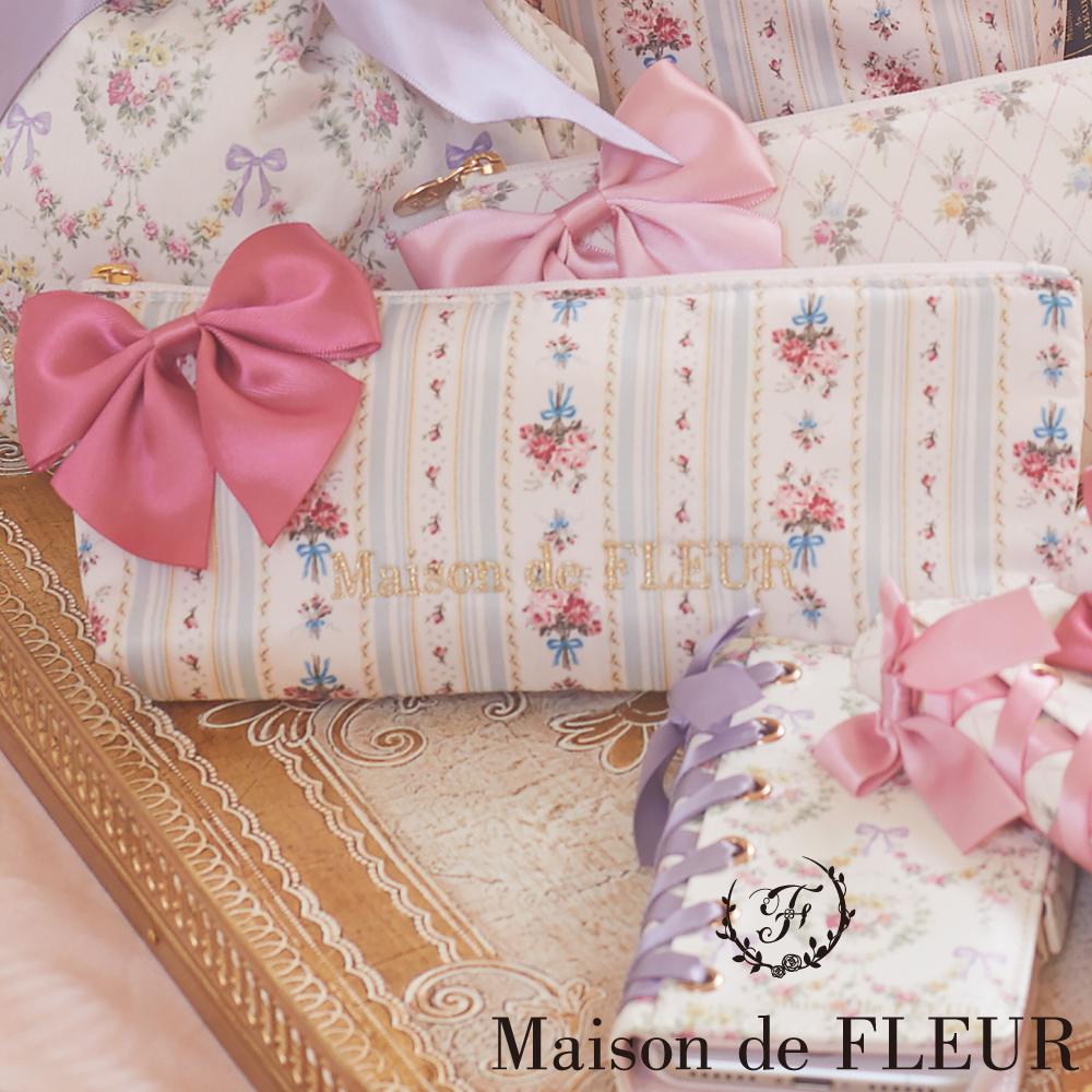 Maison de FLEUR 菱格花卉圖案蝴蝶結束口袋