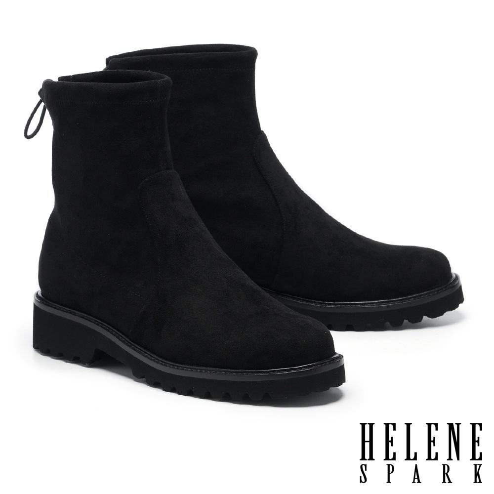 短靴 HELENE SPARK 極簡率性彈力羊絨麂布低跟厚底短靴-黑
