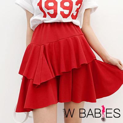 正韓 純色不規則立體魚尾短裙 (共二色)-W BABIES