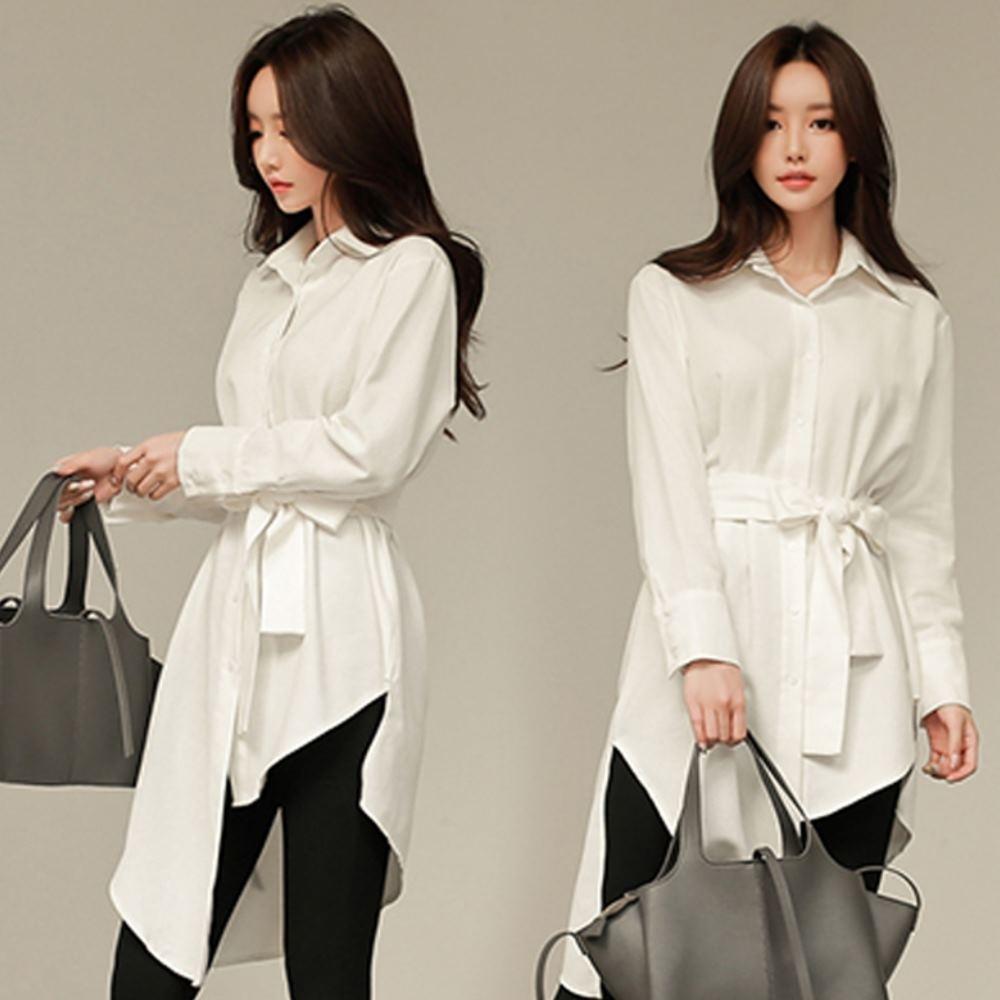MOCO素面下擺不對稱附綁帶排釦不規則滑料襯衫洋裝XL~5XL