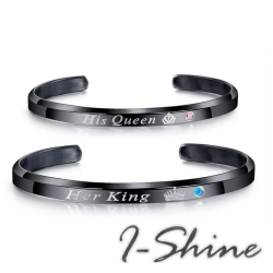 I-Shine西德鋼-國王皇后-簡約英文字母QREEN與KING鈦鋼手鐲黑色AE27