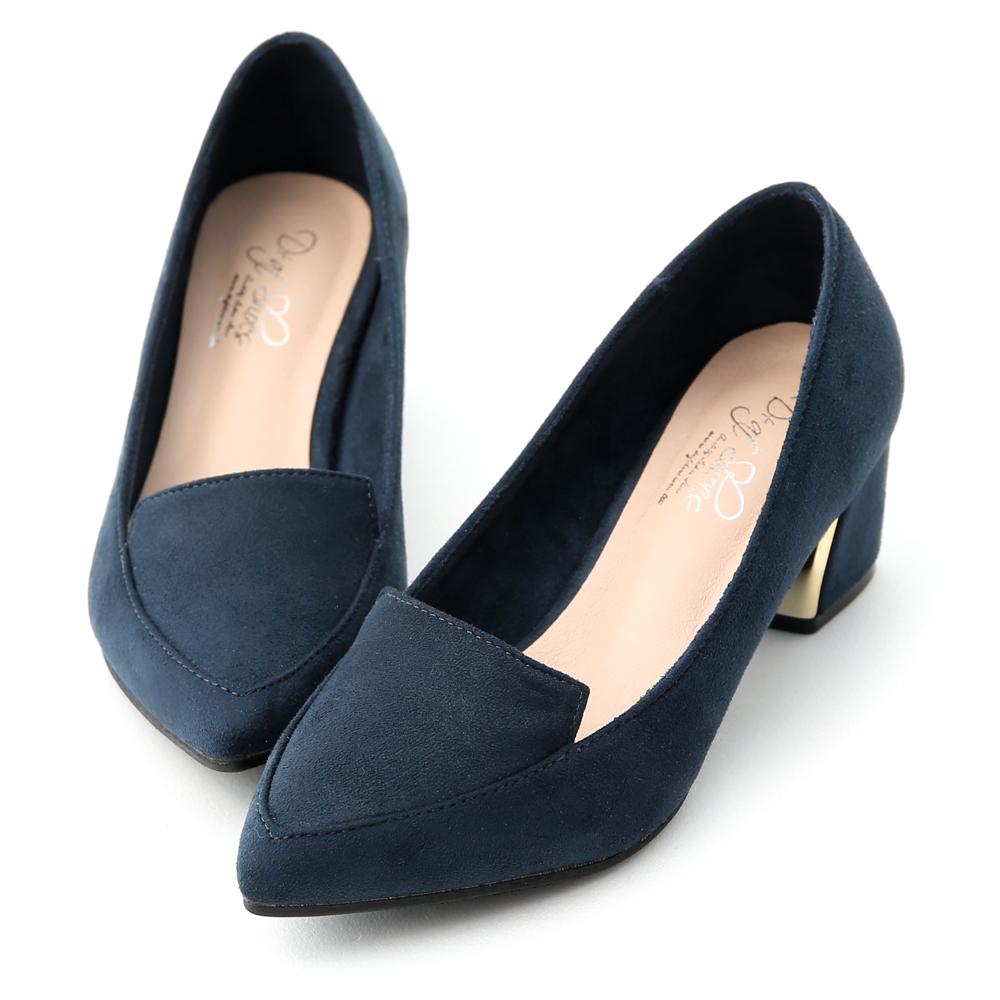 D+AF 都會典雅.素面絨料尖頭鍍金跟鞋*藍