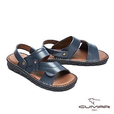 CUMAR 舒適真皮 高CP兩穿式拖涼鞋-藍