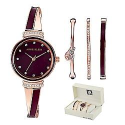 Anne Klein 絲滑醇香絕世施華洛世奇美鑽手錶手鍊套組-酒紅x22mm