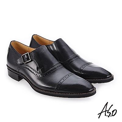 A.S.O 勁步雙核心 細膩優質真皮鞋 黑