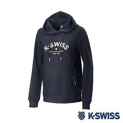 K-Swiss Hooded Sweat Shirts 休閒連帽上衣-女-黑