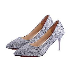 KEITH-WILL時尚鞋館 明星同款浪漫亮眼跟鞋-銀色