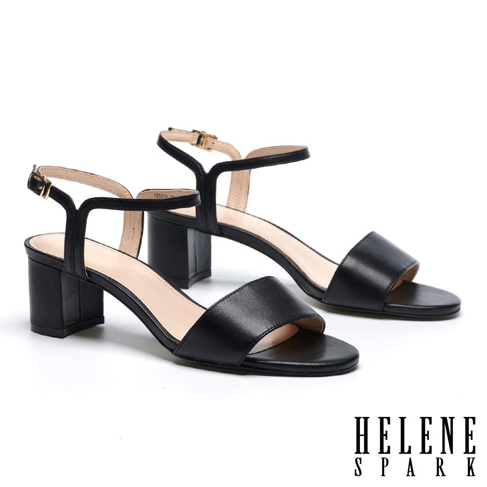 涼鞋 HELENE SPARK 簡約一字造型細帶全真皮粗高跟涼鞋-黑