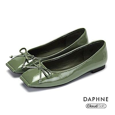 達芙妮DAPHNE 平底鞋-蝴蝶結縫線方頭豚皮內裡平底鞋-綠
