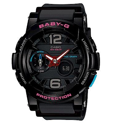 CASIO Baby-G 黑粉跳色極限運動數位錶 (BGA-180-1B)-黑/49mm