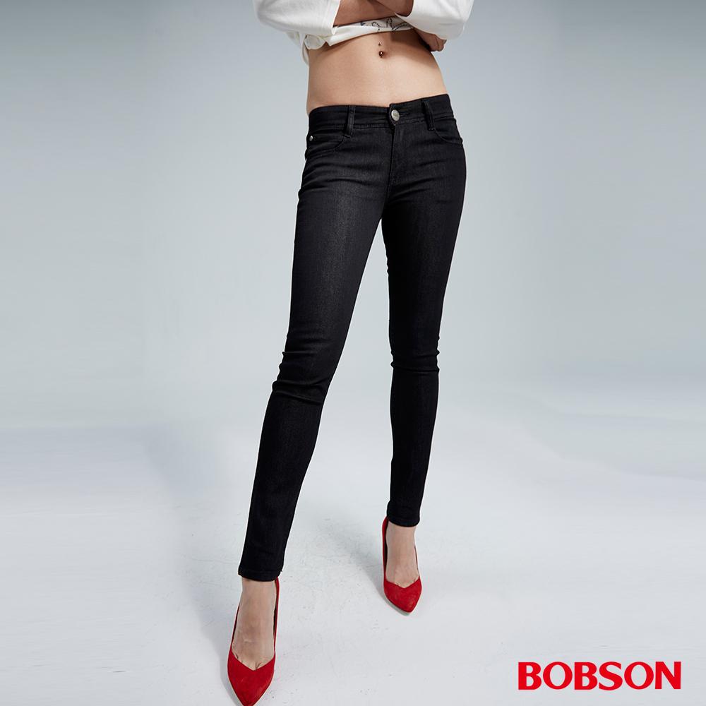 BOBSON 女款低腰彈力灰黑小直筒褲