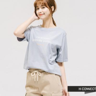 H:CONNECT 韓國品牌 女裝 -純色圓領標語T-shirt - 藍