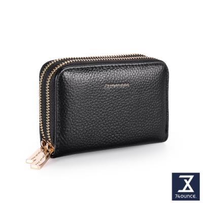 74盎司 Tender Lady 真皮防RFID雙層卡片零錢包[LN-765-TE-W]黑