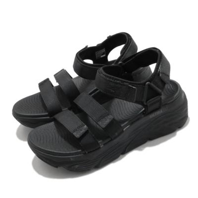 Skechers 涼鞋 Max Cushioning-Lured 女鞋 加厚中底 避震 緩衝 魔鬼氈 回彈 黑 140218BBK