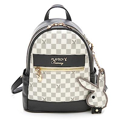 PLAYBOY- 後背包 Car racing 經典賽車小兔系列-灰色