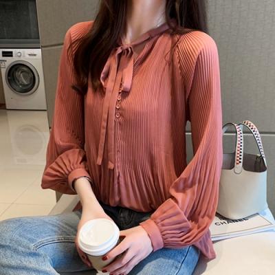 初色  壓摺皺純色長袖雪紡衫-共2色-=(M-2XL可選)