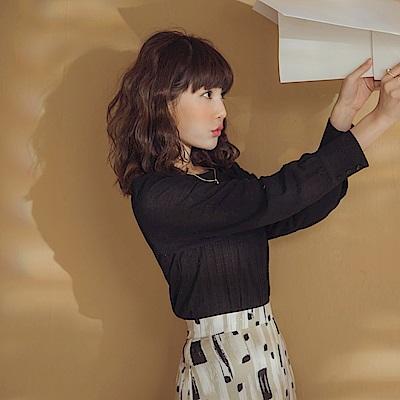 純色異材拼接袖麻花針織長袖上衣-OB大尺碼