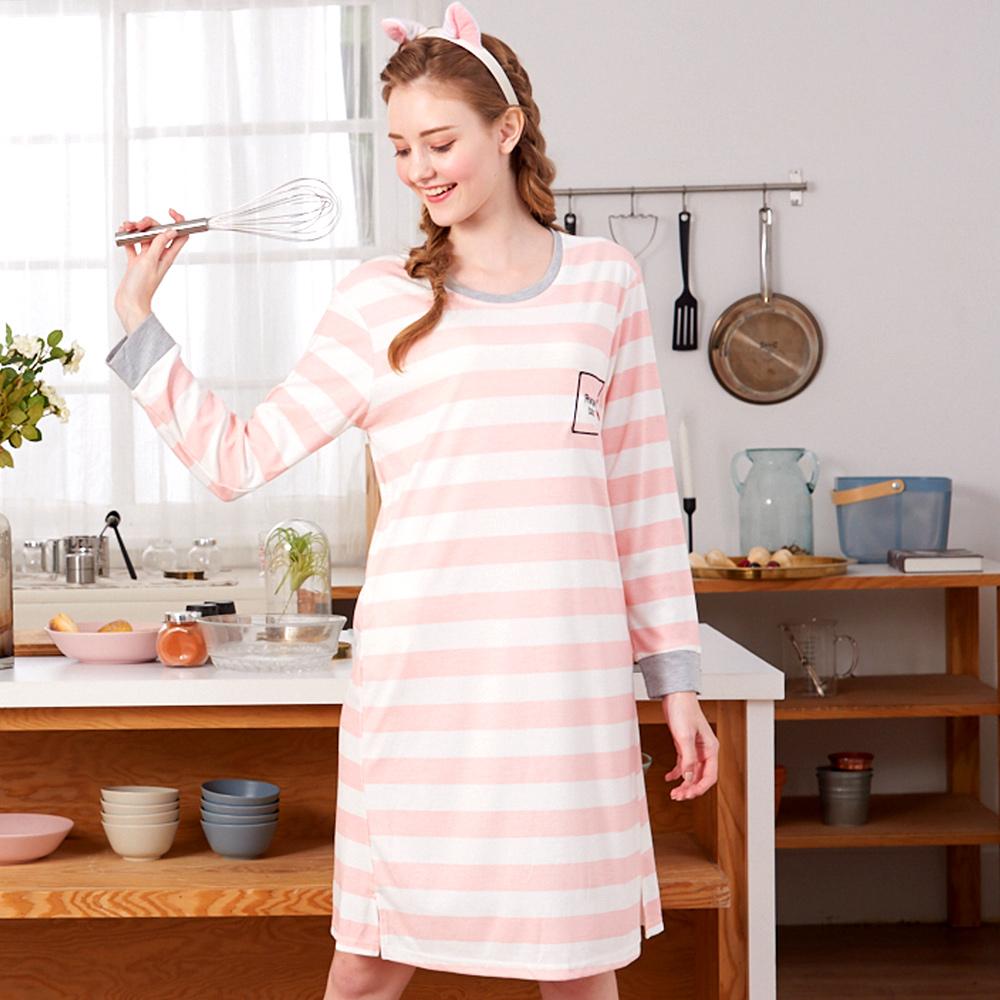 睡衣 條紋紅鶴 針織棉長袖連身睡衣(R75205-2粉色) 蕾妮塔塔
