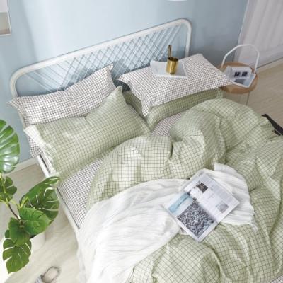 La Lune MIT頂級精梳棉200織紗單人床包雙人被套三件組 薄荷方格