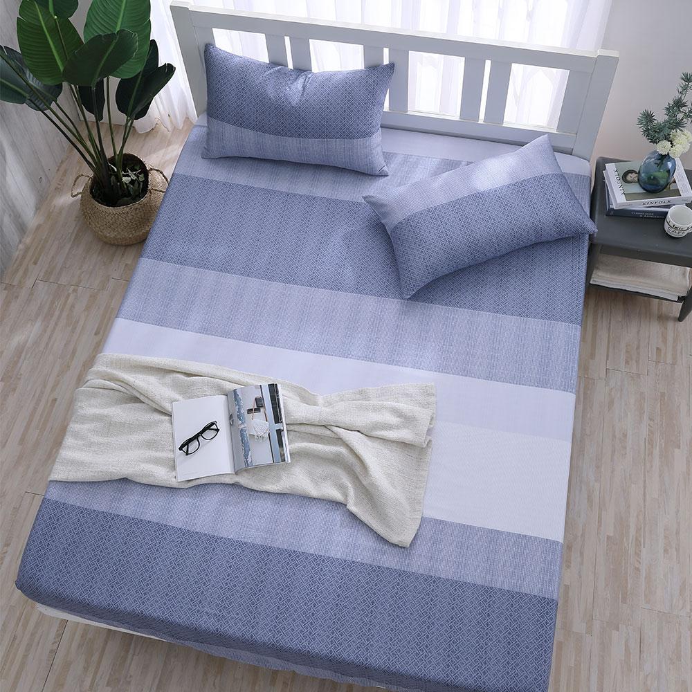 DESMOND岱思夢 加大 天絲床包枕套三件組(3M專利吸濕排汗技術) 摩卡-藍