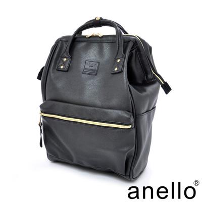 日本正版anello 輕質皮革口金後背包〈黑色〉L