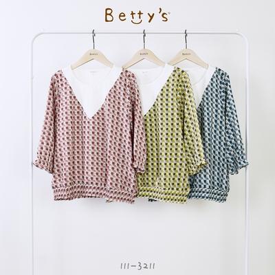 betty's貝蒂思 拼接彩格荷葉袖雪紡上衣(桃紅格)