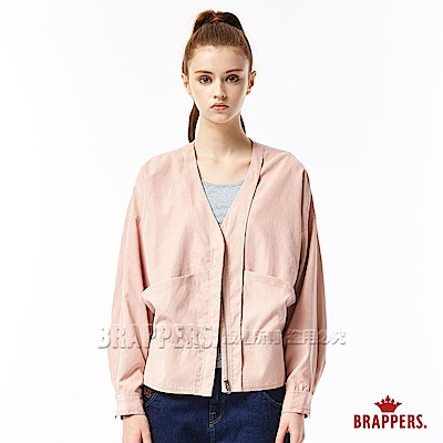 BRAPPERS 女款 V領落肩長袖外套-灰粉