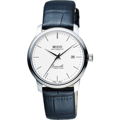 MIDO Baroncelli III Heritage 復刻機械腕錶-白x黑/32mm M0272071601000
