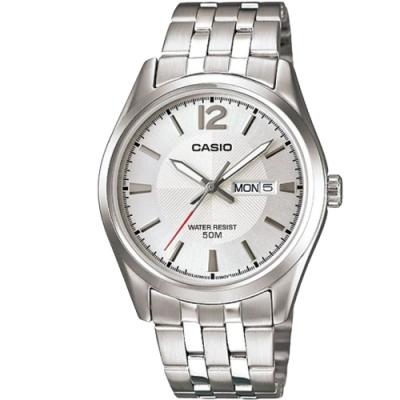 CASIO 簡約風格白領時尚不鏽鋼腕錶-白(MTP-1335D-7A)/38mm