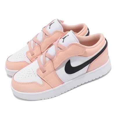Nike 休閒鞋 Jordan 1 Low ALT 童鞋 喬丹 基本款 魔鬼氈 簡約 中童 粉橘 白 BQ6066800