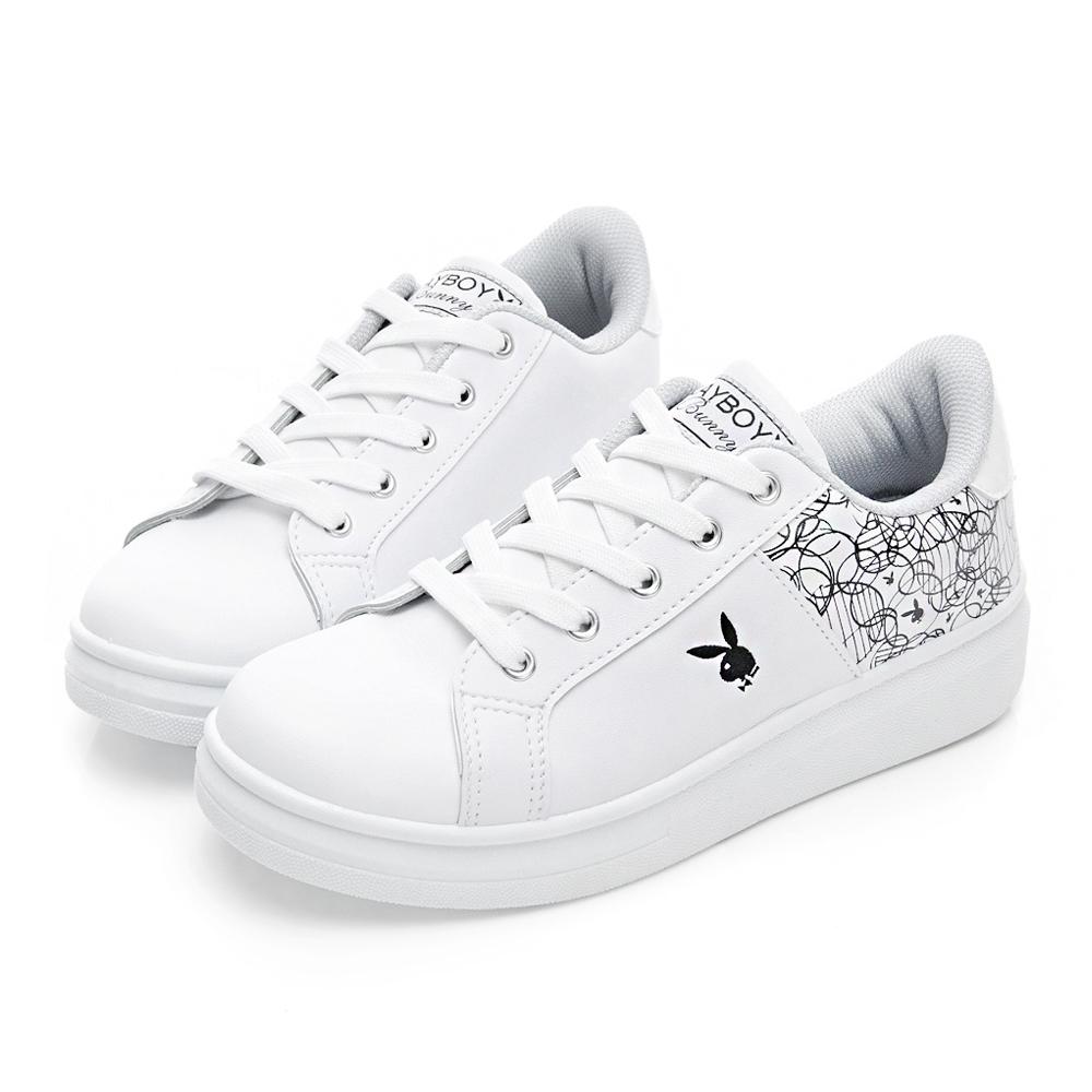 PLAYBOY 幾何圖案仿皮綁帶休閒鞋-白黑-Y52151C