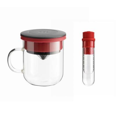 【PO:Selected】丹麥咖啡泡茶兩件組 (咖啡玻璃杯350ml-黑紅/試管茶格-紅)
