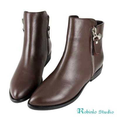 Robinlo 全真皮拉鍊騎士平底短靴 咖啡色