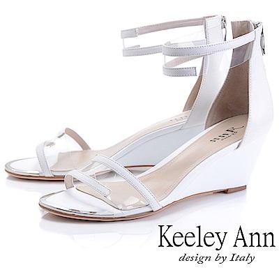 Keeley Ann時尚膠片 一字帶金屬圓楦楔型涼鞋(白色-Ann系列)