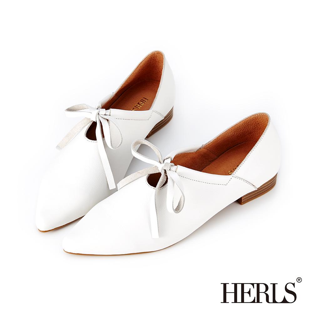 HERLS 柔美氣質 全真皮芭蕾綁帶尖頭低跟休閒鞋-白色