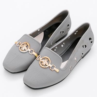 River&Moon防水鞋-時尚髮絲紋金飾Q軟洞洞樂福鞋雨鞋-灰