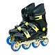 DLD多輪多 鋁合金底座 專業競速直排輪 溜冰鞋 黑黑 FS-1 附贈太空背包 product thumbnail 1