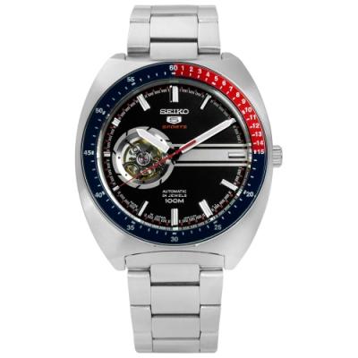 SEIKO 精工 5號盾牌 鏤空 機械 不鏽鋼手錶-黑色/44mm