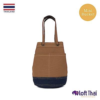 Loft THAI | 泰.兩用帆布水桶包(小) | Brown/navy