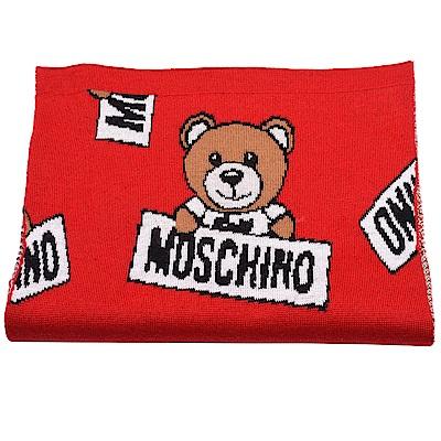 MOSCHINO 小熊玩偶圖案造型羊毛針織圍巾(紅)